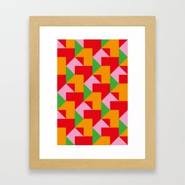 Green red Orange pink coloured mosaic with edges and squares and rectangular shapes and others Framed Art Print