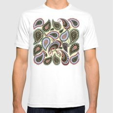 Floral winter paisley pattern. X-LARGE White Mens Fitted Tee