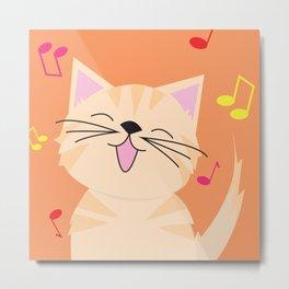Cat - Singing Metal Print
