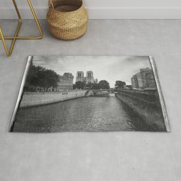 Notre Dame and the Seine River, Black and White Rug