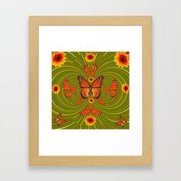 GREEN PEA SOUP SUNFLOWERS MONARCH BUTTERFLIES Framed Art Print