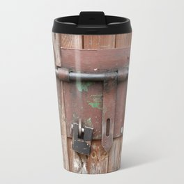 Iron sliding bolt unlocked and padlock Travel Mug