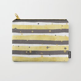 Modern yellow white gray watercolor splatters stripes Carry-All Pouch