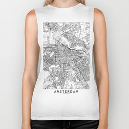 Amsterdam White Map Biker Tank