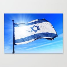 Israel flag waving on the wind Canvas Print