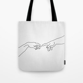 Hands showing the creation of Adam Tote Bag