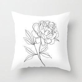 Botanical illustration line drawing - Peony Throw Pillow