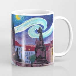 Starry Night in Prague - Van Gogh Inspirations on Charles Bridge Coffee Mug
