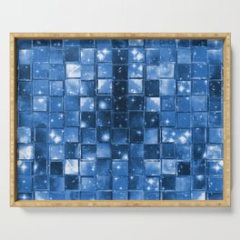Blocky Blue Stars Serving Tray