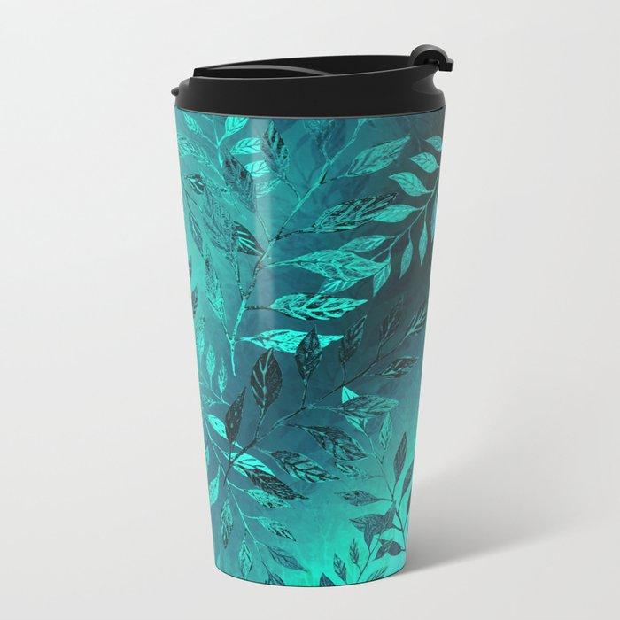Monochrome Leaf Arrangement (Teal) Metal Travel Mug