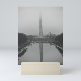 Washington Monument shrouded in fog Mini Art Print