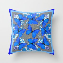 Decorative Blue Shades Butterfly Grey Pattern Art Throw Pillow