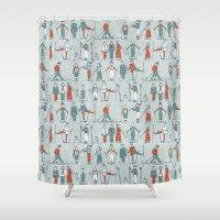 ski Shower Curtains featuring vintage ski linen by Sharon Turner