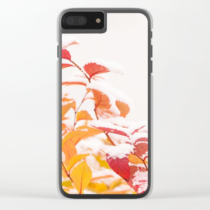 Snow covered red leaves Clear iPhone Case