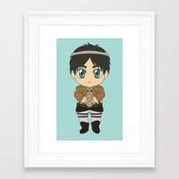 shingeki no kyojin Framed Art Prints featuring Shingeki no Kyojin - Chibi Eren Flats by Tenki Incorporated