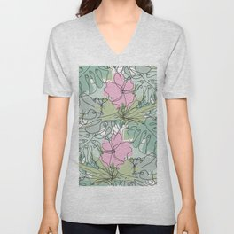 Hibiscus and Tropical Leaves Unisex V-Neck