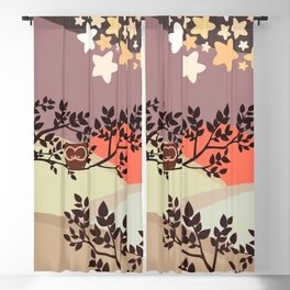 Quiet and peaceful night, cute owl snooze on the tree Blackout Curtain