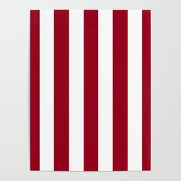 Carmine fuchsia - solid color - white vertical lines pattern Poster