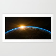 Sunrise over the Earth from Space Art Print