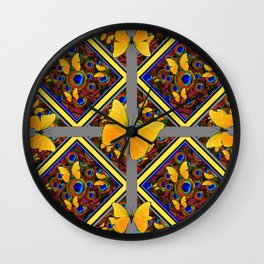 Grey-Yellow Butterfly Patterns Peacock Eyes  Design Wall Clock