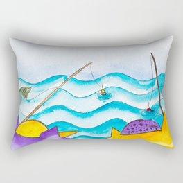 Cats fishing Rectangular Pillow