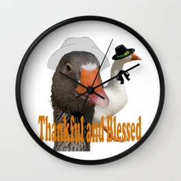 Thankful and Blessed Thanksgiving Pilgrims Wall Clock