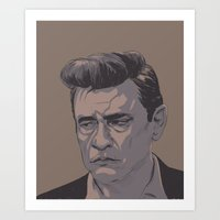 johnny cash Art Prints featuring Johnny Cash by MikeOB