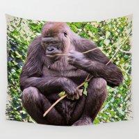 gorilla Wall Tapestries featuring Gorilla by SwanniePhotoArt