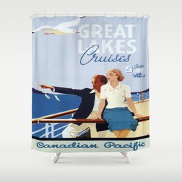 Vintage poster - Great Lakes Cruises Shower Curtain
