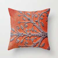 gothic Throw Pillows featuring Gothic Red Door by Joke Vermeer