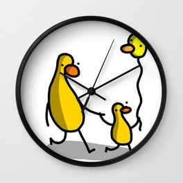 Duck Birds with Balloon | Veronica Nagorny Wall Clock