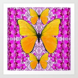 FUCHSIA COLORED  ORCHIDS &  YELLOW  BUTTERFLY FLORAL Art Print