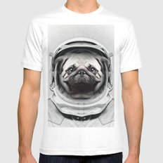 Puggly Pawstrong Astro Dog White Mens Fitted Tee MEDIUM