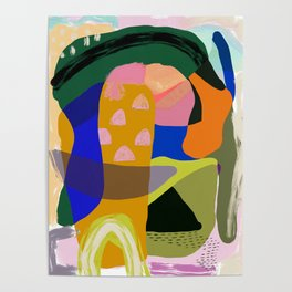 Shapes and Layers no.20 - Abstract painting olive green blue orange black Poster