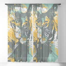 Seamless Tiger face On Grunge Background Sheer Curtain