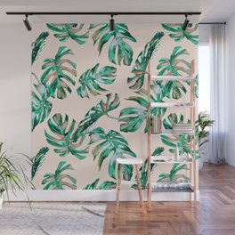 Tropical Palm Leaves Coral Greenery Wall Mural