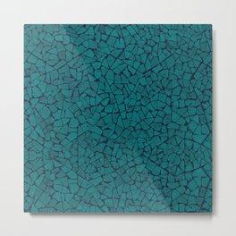Teal Lumber Mosaic Pattern Metal Print