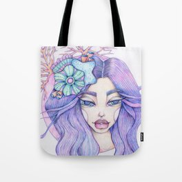 JennyMannoArt Colored Graphite/Keira the Mermaid Tote Bag