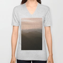Alps Mountain Layers at Warm and Peaceful Sunrise – Landscape Photography Unisex V-Neck