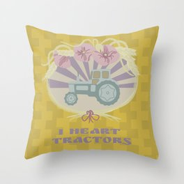 I Heart Tractors - mustard Throw Pillow