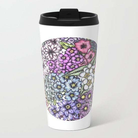 Floral Dot Metal Travel Mug
