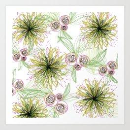 Zipper Blooms + Buds Art Print