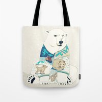 polar bear Tote Bags featuring Polar Bear by Yuliya