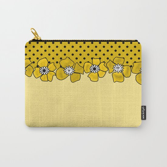 Yellow floral pattern . Carry-All Pouch