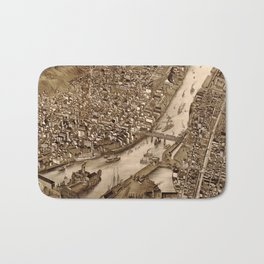 Vintage Pictorial Map of Troy NY (1881) Bath Mat