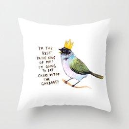trash bird self affirmations Throw Pillow