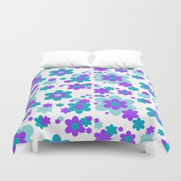 Turquoise Teal Blue and Purple Floral Duvet Cover