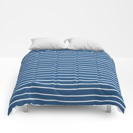 Colorful Stripes, Blue and White, Abstract Art Comforters