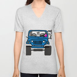 Jeep Wave Girl - Blue Unisex V-Neck