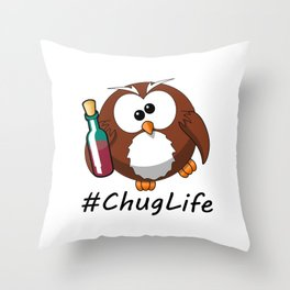 #ChugLife Drunk Owl Throw Pillow